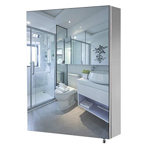 Qucover Spiegelschrank Bad Badezimmerspiegelschrank Wandschrank aus Edelstahl Klein Hängeschrank Breite 45cm Höhe 60cm Eintürig mit 3 verstellbare Ablage