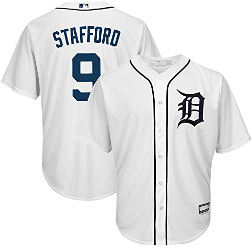 MLB X NFL Official Crossover Youth 8-20 Cool Base White Home Player Replica Jersey (Large 14/16, Matthew Stafford Detroit Tigers)