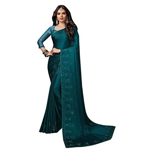 ETHNIC EMPORIUM Damen Blau Noble Satin Swarovski Stein Arbeit Saree Schöne Bluse Sari Indische Mode-Frauen-Partei formale 8112 6,25 mtr Wie gezeigt