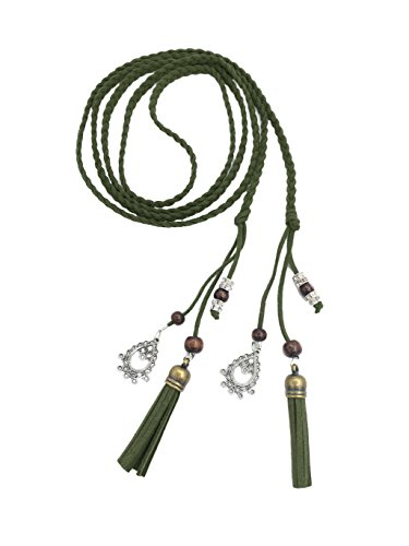 Exotic Women Waist Belt/ Rope/Chain with Tassel and Beads in 8 Colors (army green)