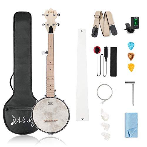 Mulucky 5 String Banjo - Concert 26 Inch Banjo Remo Drumhead Beginner Kit With Gig Bag Tuner Picks Strings Strap - B802