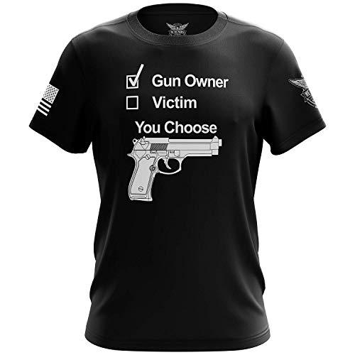 We The People Holsters - Gun Owner Or Victim - You Choose - 2nd Amendment Shirt - Short Sleeve T Shirt - Gun Enthusiast Shirt - American Flag Patriotic Shirt - Black - XL