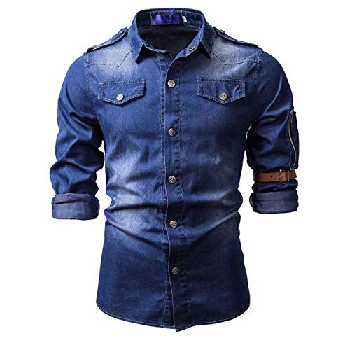Men's Washed Denim Work Shirts Casual Comfort Long Sleeve Western Snap Shirt