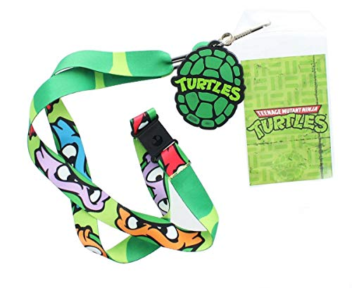 Let everyone know just how much you love the Teenage Mutant Ninja Turtles with this lanyard featuring the masked faces of all four Ninja Turtles! Green lanyard features a detachable plastic buckle, convenient metal key clip and ID holder, along with ...