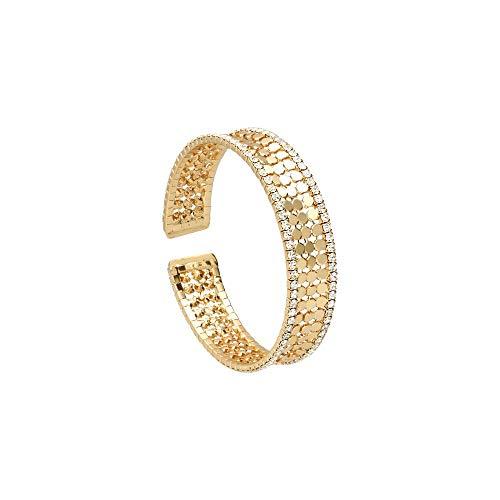 Stroili - Bracciale bangle con strass in metallo dorato per Donna