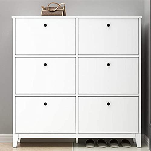 QHHALXZ Zapatero Gabinete de zapatos, puerta simple para el hogar, cubo de punta multicapa, ultradelgado, para zapateros (color: blanco, tamaño: 124 x 26 x 100 cm)