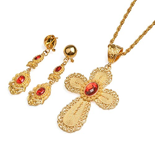 QDGERWGY Conjunto de Cruz Grande etíope, joyería, Collar con Colgante de Color Dorado, Pendientes, Regalo de Boda de África Eritrea