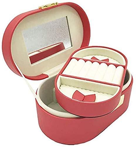 KEEBON Caja de joyería Elegante de Outlook + Organizador de Caja de joyería de Viaje pequeño Simple para Anillo de Pendiente Collar de Collar de Almacenamiento Rosa roja (Color: Rojo)