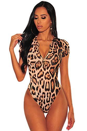 MAX MALL Damen Kurzarm Body Tops mit Reißverschluss Leopard Bodysuit Overalls (S, Leopard)