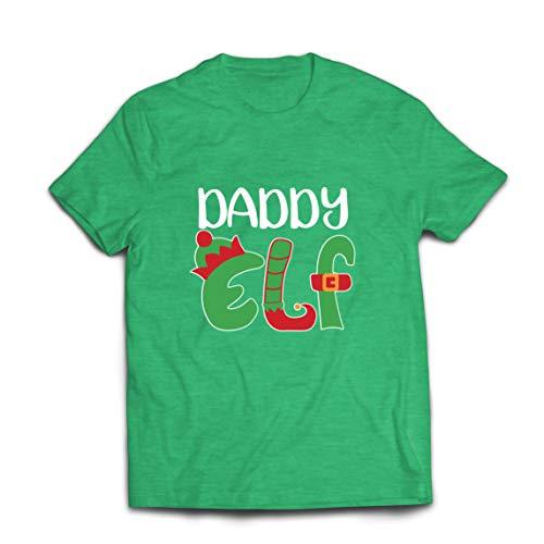 lepni.me Camisetas Hombre Papá Elfo Navidad Traje Gráfico Divertido (Small Brezo Verde Multicolor)