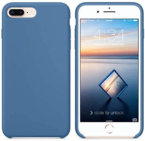 Funda de Silicona Silicone Case para iPhone 7 Plus, iPhone 8 Plus, Tacto Sedoso Suave, Carcasa Anti Golpes, Bumper, Forro de Microfibra (Azul Vaquero)