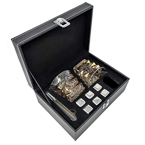 ROCKS Premium Crystal Whiskey Glass Set with Gilded Gold Rocks Glasses, Stainless Steel Chilling Stones and Quality Gold Serving Tongs. Great Gift for All Whiskey, Bourbon and Scotch Lovers!