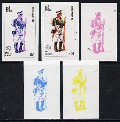 Iso - Sweden 1974 Centenary of UPU (Military Uniforms) 400 (Russian Infantry 1812) set of 5 imperf progressive colour proofs MILITARIA UPU JandRStamps
