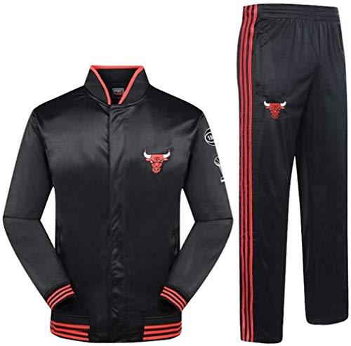 ZSM Herren Schwarzer Sportanzug Korb Chicago Bulls Basketball Sportswear Langarm Bodysuit Frühlings- Und Herbstmantel (Top + Hose)