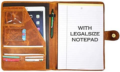 Leather Travel Portfolio Professional Organizer Men Women Tablet Holder Leather Padfolio with product image