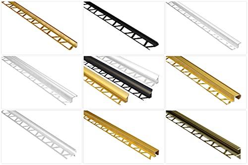 Effector Riel para azulejos de aluminio anodizado – Protección de bordes de azulejos – (perfil cuadrado dorado) – Perfil angular de perfil de suelo de aluminio