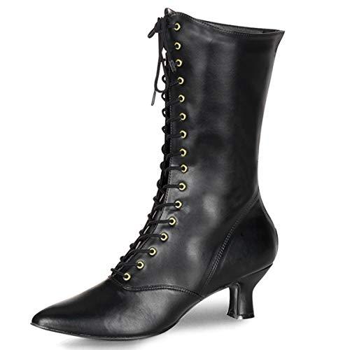 Higher-Heels Funtasma Renaissance-Stiefel Victorian-120 Mattschwarz Gr. 40