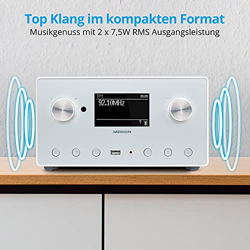 MEDION P85166 Internetradio mit DAB+ (WLAN, UKW FM, Spotify Connect, Amazon Music, DLNA, USB, LAN, Kopfhöreranschluss, Line in/Out, Weckfunktion Snooze Sleep)
