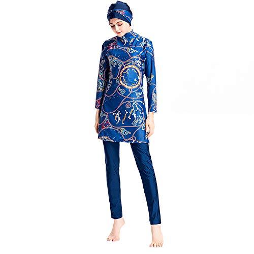 costumi mare da donna hijab Grsafety 3 Pezzi Costume da Bagno Musulmano Donne - Stampa Costumi da Bagno Hijab Burkini Modesto Swimsuit Swimwear