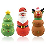 Malier Christmas Squeaky Dog Toys, Durable Latex Dog Chew Bite Toy, Funny Interactive Dog Toys Perfact for Small Medium Pets Dogs Puppy