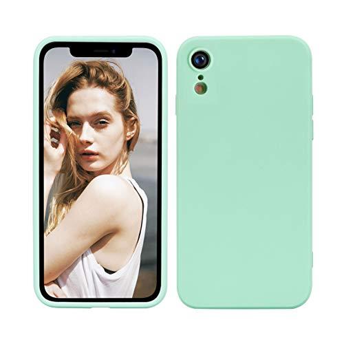 Nupcknn Funda para iPhone XR, Cáscara Suave de Silicona TPU Líquida Funda Forro de Microfibra Suave Cojín(Verde)