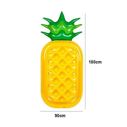 Cama flotante de alta calidad de piña hinchable flotante de fila, gran flotabilidad para adultos, niños, piscinas, flotadores, colchón de aire con zona para dormir (color amarillo)
