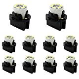 YITAMOTOR 10x T10 194 168 LED Dash Light Bulb White Dashboard LED Light Bulbs Bright Instrument Panel Gauge Cluster LED Light Bulbs and 10 Twist Lock Socket White, 12V
