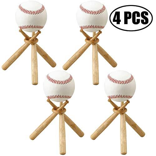 TIHOOD 4 Sets Baseball Stand Baseball Stand Holder Wooden Base Ball Stand Display Holderaseball Bat (4 Packs)
