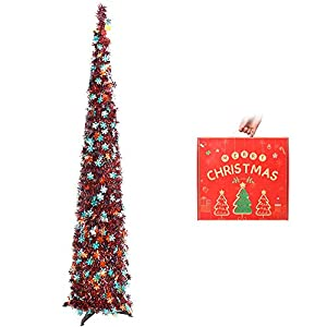 n&t nieting christmas tree, 5ft collapsible pop up red snowflake tinsel christmas tree coastal christmas tree for holiday decorations, home display, office decor, halloween decoration silk flower arrangements