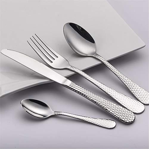 Couverts 4 pièces de luxe polonais Set de couverts Ensemble de coutellerie en cuivre Set couteau fourchette cuillère, argent