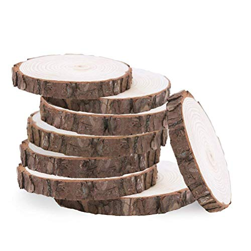 Nykkola tranches de bois brut – Lot de 20 tranches de bois naturel rustique, Cercles, abri de jardin en bois rond pour DIY Artisanat, décoration de mariage, décoration de maison Table