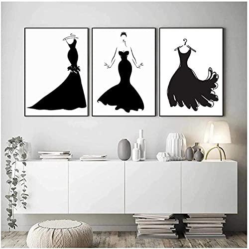 LangGe Impresión en Lienzo 3 Piezas 60x80cm sin Marco Vestido Negro Belleza Cartel nórdico Abstracto Pintura de Moda Arte Pop Ropa Decoración de Estudio
