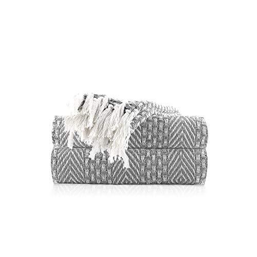 Tagesdecke Grau - 152x127 cm Weiches & warmes Wohnzimmer Dekorative baumwolldecke für Couch Decken