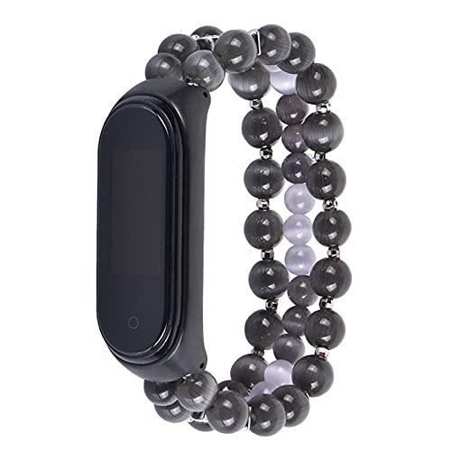 Compatible Con Mi Smart Bracelet Watch Band,CordóN De Cuentas Correa De MuñEca Pulsera Smart Watch Band Accesorios De Correa De Reloj Ajustable Para Mi Band 3/4 (Color : Gray, Size : MI3/4)