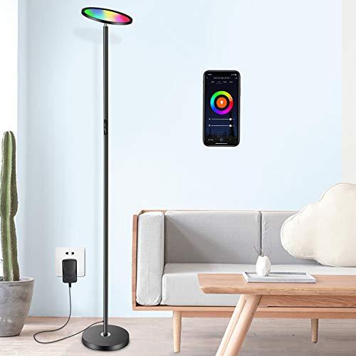 Oeegoo RGB Lámpara de pie LED, Wifi inteligencia Lampada da Terra regulable, 25W Piantana LED, para salón, dormitorio, Compatibile con Alexa e Google Assistant, control táctil