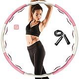 Aoweika Hula Hoop para adultos y niños, plegable y ajustable, para ejercicio físico, aro y cuerda de saltar para perder peso, rosa y blanco