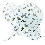 Jan & Jul Kids Foldable Summer Sun-Hat 50 UPF, Drawstring Adjustable, Stay-on Chin Strap (L: 2-5Y, Dino)
