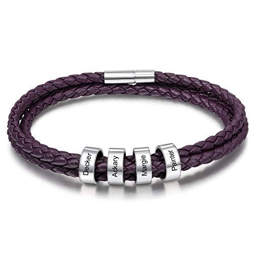 ShSnnwrl Estilo clásico Pulsera De Nombre con Grabado Personalizado con 4 Cuentas Pulseras De Multicolor Personalizadas para Hombres Mujeres Joyería De Acero Inoxidable Púrpura