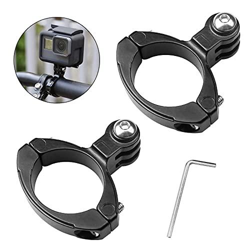 Aallo Juego de 2 Soporte Adaptador de Manillar Soporte de Cámara de Acción de Bicicleta de Aluminio Soporte de cámara Deportiva para Gopro Hero/cámaras de acción- Negro