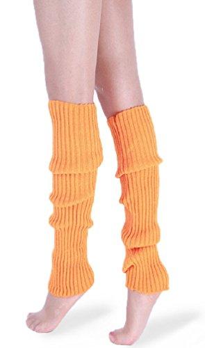 daisysboutique Retro Unisex Adult Junior Ribbed Knitted Leg Warmers (One Size, Orange)