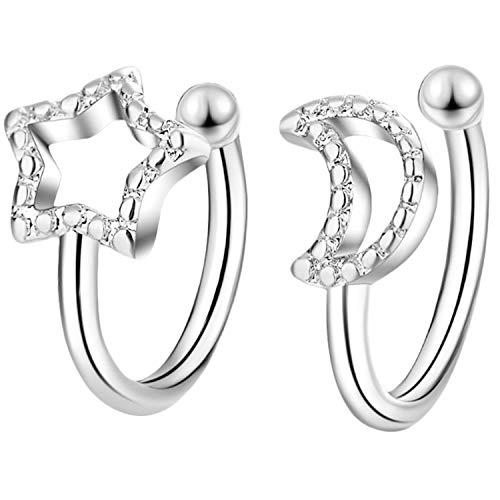Pendientes de plata para mujer, diseño de luna y estrella con bola, pendientes de aro falsos