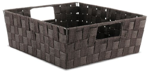 Whitmor Espresso Woven Strap Shelf Storage Tote Basket