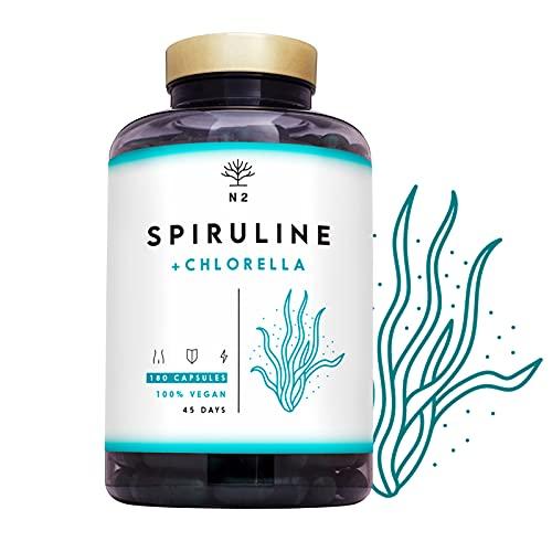 Espirulina y Chlorella. Spirulina Potente DETOX Antioxidante-Sistema Inmunitario-Proteinas Vegetales-Hierro-Elimina Metales-Probiotico-180 Capsulas Vegetal.1250mg. Vegano.N2 Natural Nutrition