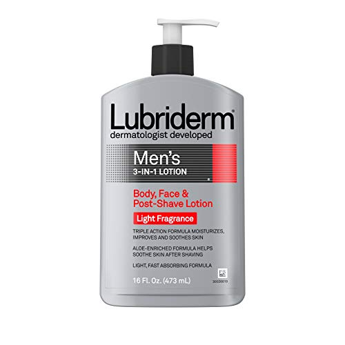 Lubriderm Men's 3-In-1 Lotion Enriched with Soothing Aloe for Body and Face, Non-Greasy Post Shave Moisturizer with Light Fragrance, 16 fl. oz