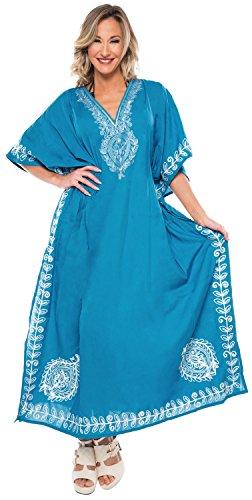 LA LEELA Mujeres caftán Rayón túnica 3D HD Impreso Kimono Libre tamaño Largo Abaya Vestido Jalabiyas de Fiesta para Loungewear Ropa de Dormir Playa Todos los días Cubrir Vestidos Azul_L438