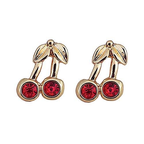CHENYUXIA Pendientes de cerezo rojo para mujer, regalo para mujeres, joyas creativas, pendientes