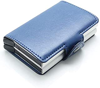 Men/women Genuine Leather aluminium slim Secure ID Wallet with RFID for Unisex. 14 Cards + Cash. Flip Eject option for qui...