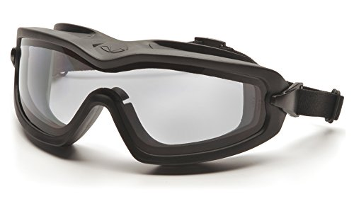 Pyramex Safety Products GB6410SDT V2G Plus Safety Glasses, Clear Anti-Fog Dual Lens with Black...