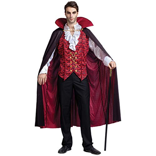 Spooktacular Creations Renaissance Mittelalterliche Vampir Deluxe Halloween Kostüm für Herren Rollenspiel Sins Cosplay (Large, Red)