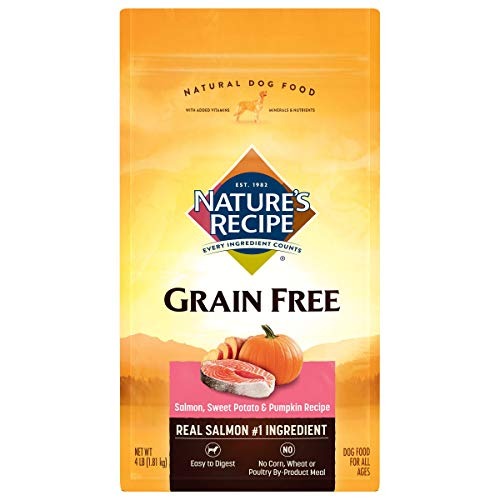 Nature's Recipe Grain Free Easy to Digest Dry Dog Food, Salmon, Sweet Potato & Pumpkin Recipe, 4-Pound